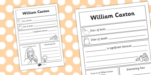 William Caxton Significant Individual Writing Frame - writing