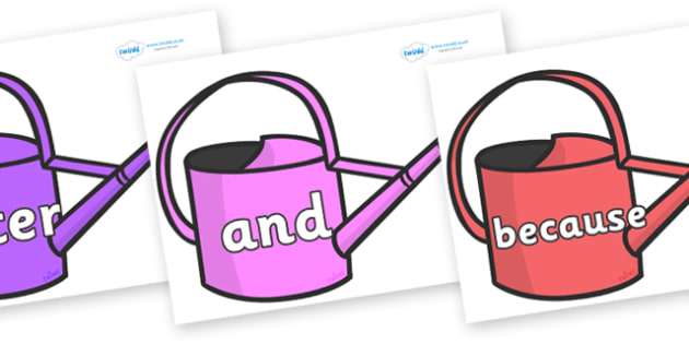 Connectives on Watering Cans - Connectives, VCOP, connective resources, connectives display words, connective displays