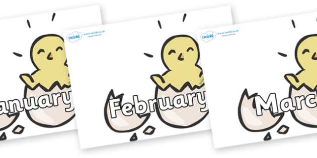 Months of the Year on Hatching Chicks - Months of the Year, Months poster, Months display, display, poster, frieze, Months, month, January, February, March, April, May, June, July, August, September