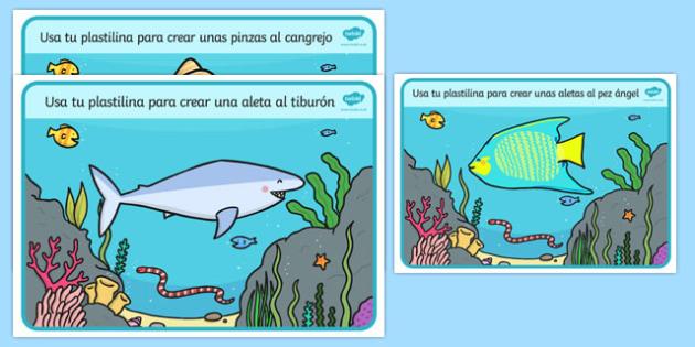 Under the Sea Playdough Mats Spanish - spanish, Under the Sea, Sea, seaside, Playdough, mat, fish, octopus, sea, seaside, water, tide, fish, sea creatures, shark, whale, marine life, dolphin