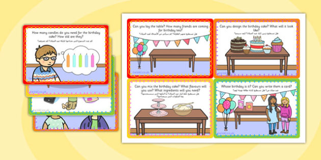 Birthday Role Play Challenge Cards Arabic Translation - arabic