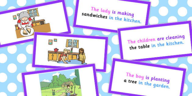 Picture Description Cards Who What Doing To What Where Set 2