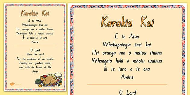 Karakia Kai Display Poster - nz, new zealand, karakia, Te Reo Māori