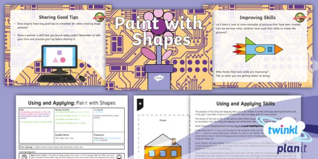 Computing: Using and Applying: Paint with Shapes Year 1 Lesson Pack 4