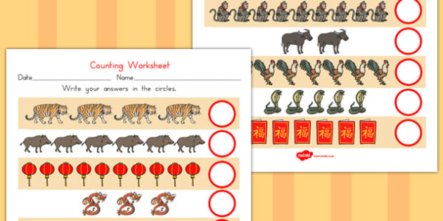 Chinese New Year Counting Worksheet - worksheets, celebrations