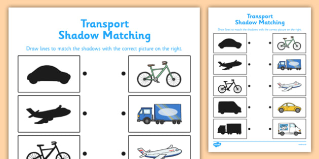 Transport Shadow Matching Worksheet - transport, shadow matching, shadow, match, worksheet