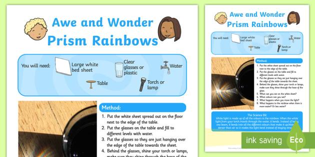 Prism Rainbows Awe and Wonder Science Activity - science, prism