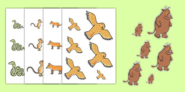 The Gruffalo Size Ordering - the gruffalo, size ordering, size ordering activity, size and shape, size, shape, size arranging, size worksheets, measuring
