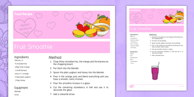 Mother's Day Fruit Smoothie Recipe - australia, Mother's Day, cooking, recipes, procedure, fruit smoothie, reading, food