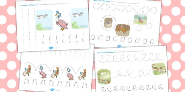 The Tale of Jemima Puddle-Duck Pencil Control Sheets - jemima puddle-duck