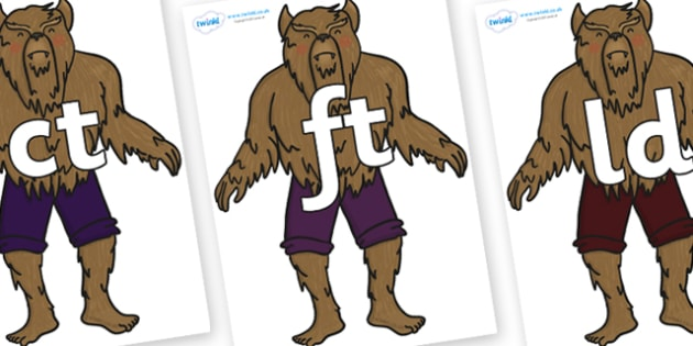 Final Letter Blends on Beast - Final Letters, final letter, letter blend, letter blends, consonant, consonants, digraph, trigraph, literacy, alphabet, letters, foundation stage literacy