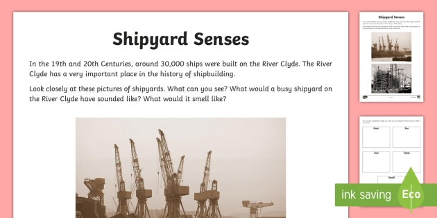 Glasgow Shipbuilding Senses Activity Sheet - Scottish Cities, shipyards, sense poem, creating texts, Glasgow, Scottish, worksheet