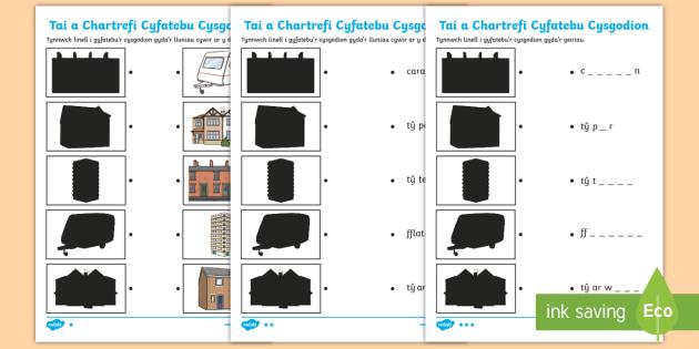 Taflen Cyfatebu Cysgodion Tai a Chartrefi - Ty teras, terrace house, semi-detached, detached, ty ar wahan, ty par, carafan, caravan, cwt, hut, f