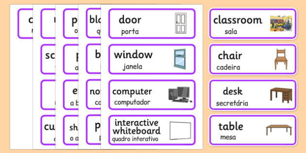 Classroom Word Cards Portuguese Translation - portuguese, classroom, word cards, word, cards