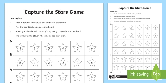 Capture the Stars Coordinates Game - Position, direction, coordinates, game