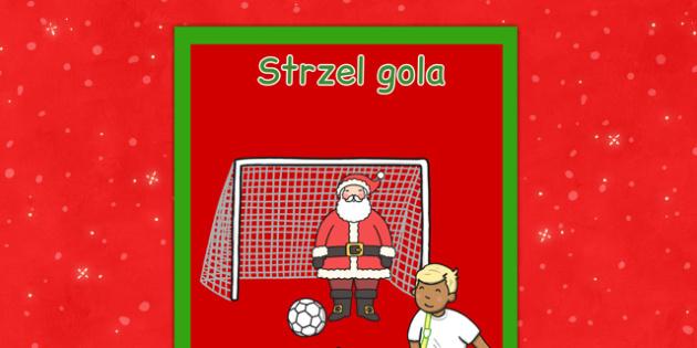 Świąteczny plakat Strzel gola po polsku - kiermasz, gry, święta