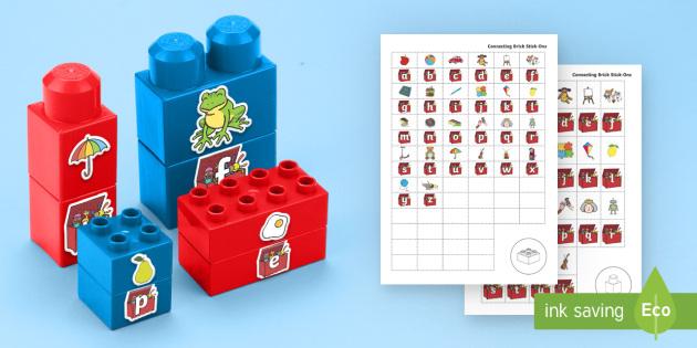 Toy Box Phonics Matching Connecting Bricks Game - EYFS, Early Years, KS1, Connecting Bricks Resources, duplo, lego, plastic bricks, building bricks, p