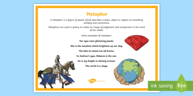 Metaphor Poetry Terms A4 Display Poster - imagery, definition, vocabulary, simile, poem, examples, descriptive, exaggeration