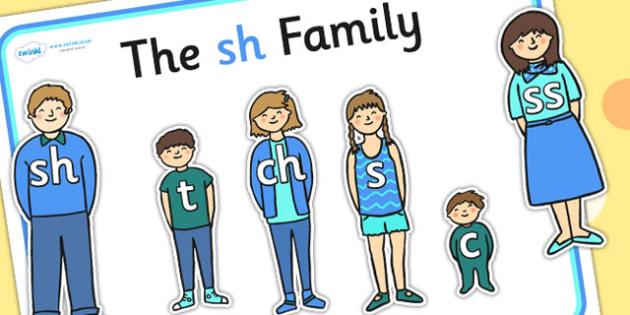 Sh Sound Family Cut Outs - sound families, sounds, cutouts, cut