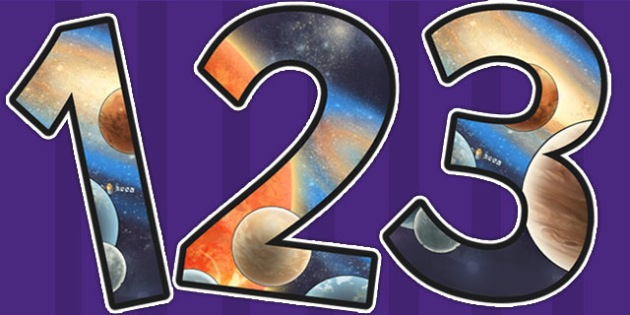 Space Themed A4 Detailed Images Display Numbers - space, numbers