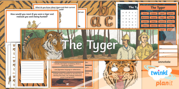 PlanIt Y6 Animals: The Tyger Additional Resources - PlanIt, Y6, year 6, kS2, juniors, english, literacy, william blake, poetry, tyger, tiger, animals, p
