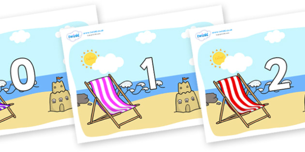 Numbers 0-100 on Seasides - 0-100, foundation stage numeracy, Number recognition, Number flashcards, counting, number frieze, Display numbers, number posters