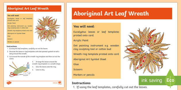 Australian Aboriginal Painted Leaf Wreath Artwork