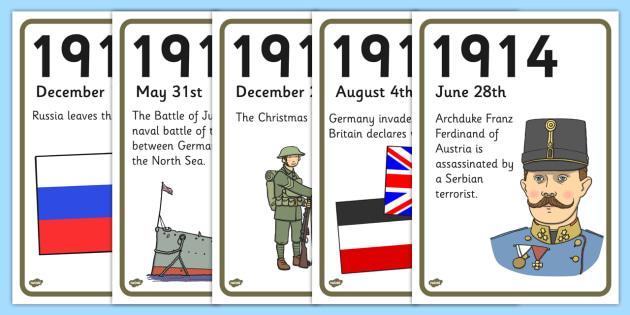 World War One A4 Display Timeline - world war one, a4, display