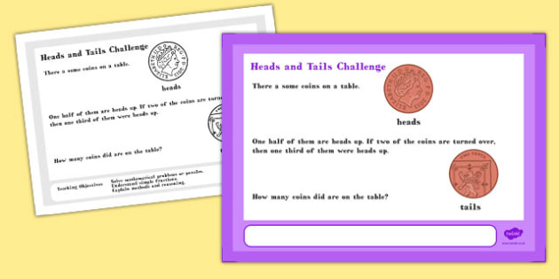 Head and Tails Maths Challenge A4 Display Posters - Maths, Head