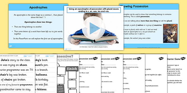 Using Apostrophes of Possession with Plural Nouns SPaG Lesson Teaching Pack
