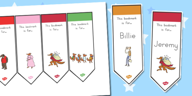 Editable Bookmarks to Support Teaching on Fantastic Mr. Fox - australia, fantastic mr fox