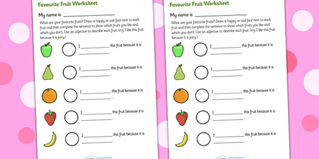 Favourite Fruits Description Worksheet - fruit, fruit worksheet, favourite fruits, my favourite fruits, fruits description worksheet, healthy eating