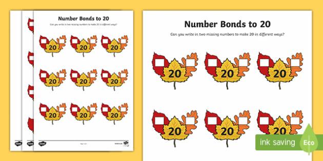 Autumn Leaf Number Bonds to 20 Activity Sheet