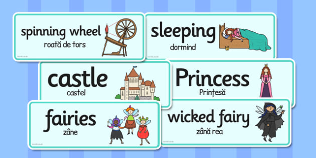 Sleeping Beauty Word Cards Romanian Translation - romanian, cards