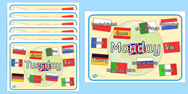 Days of the Week Mixed Languages Display Posters - days, weeks