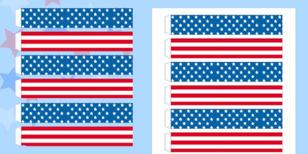 Stars and Stripes Paper Chain - stars, stripes, paper, chain