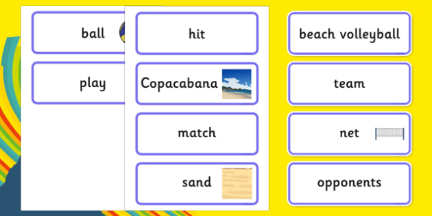 The Olympics Beach Volleyball Word Cards - Beach Volleyball, Olympics, Olympic Games, sports, Olympic, London, 2012, word card, flashcards, cards, activity, Olympic torch, events, flag, countries, medal, Olympic Rings, mascots, flame, compete