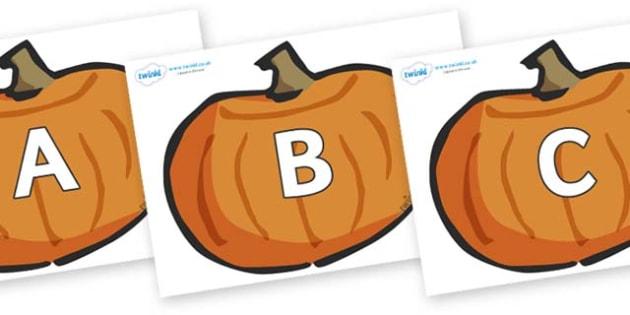A-Z Alphabet on Pumpkins - A-Z, A4, display, Alphabet frieze, Display letters, Letter posters, A-Z letters, Alphabet flashcards