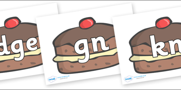 Silent Letters on Chocolate Buns - Silent Letters, silent letter, letter blend, consonant, consonants, digraph, trigraph, A-Z letters, literacy, alphabet, letters, alternative sounds