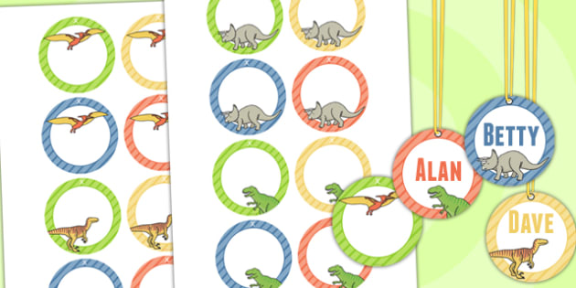 Dinosaur Themed Birthday Party Editable Name Tags - name tags