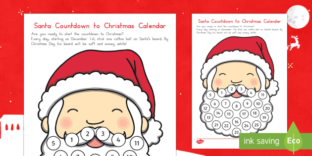 Santa Countdown to Christmas Calendar Craft