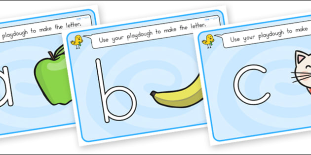 Alphabet Playdough Mats Lowercase - alphabet, fine motor skills
