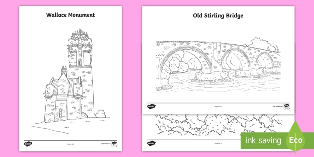 Stirling Tourist Attractions Colouring Pages-Scottish - Scottish Cities, Stirling, Scotland, Wallace Monument, Stirling Castle, Stirling Bridge, tourist att