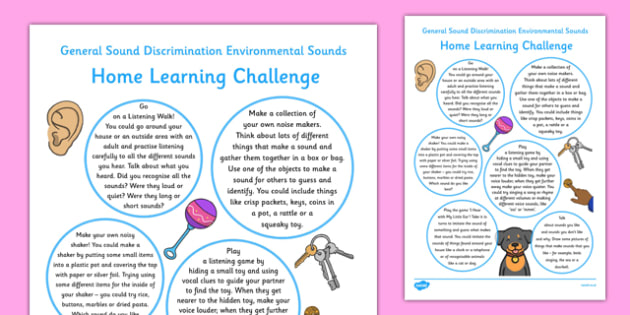 General Sound Discrimination Environmental Sounds Home Learning Challenge Sheet FS2 - EYFS planning, Early years activities, homework activities, phonics, Letters and Sounds, Aspect 1, Phase 1, listening skills