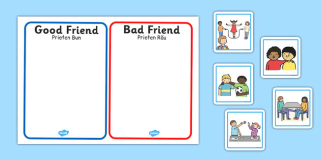 Good Friend Discussion and Sorting Cards Romanian Translation - romanian, good friend