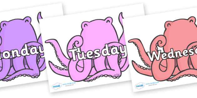 Days of the Week on Octopus to Support Teaching on The Rainbow Fish - Days of the Week, Weeks poster, week, display, poster, frieze, Days, Day, Monday, Tuesday, Wednesday, Thursday, Friday, Saturday, Sunday