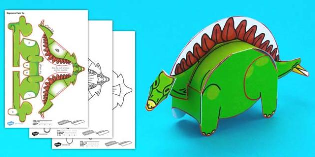 Simple 3D Printable Paper Stegosaurus Dinosaur Activity - simple, 3d, printable, dinosaurs, paper, paper model, model, craft, activity, stegosaurus