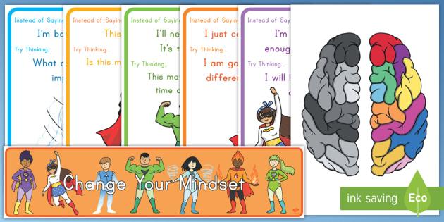 Superhero Themed Developing Growth Mindset Display Pack - mindset, superhero, mental growth, developing, emotional health, growth mindset