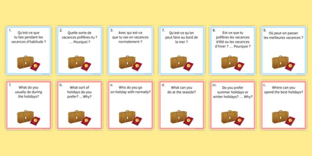 General Conversation Question Pair Cards Travel and Tourism - french, Conversation, Speaking, Questions, Travel, Tourism, Holidays, Vacances, Voyage, Tourisme, Cards, Cartes