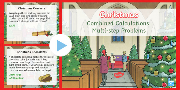 UKS2 Combined Calculations Multi-step Word Problems Christmas PowerPoint